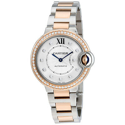Cartier Ballon Bleu Silver Diamond Dial Steel and Rose Gold  Watch Ladies