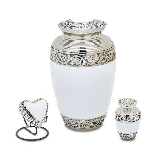 Grecian White Cremation Urn Set