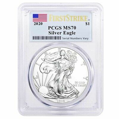 2020 1 oz Silver American Eagle $1 Coin PCGS MS 70 First Strike (Flag Label)