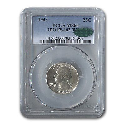 Click now to see the BUY IT NOW Price! 1943 WASHINGTON QUARTER MS 66 PCGS DDO FS 103   SKU 132725