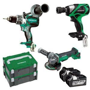 Hitachi 18V 6.0Ah Li-ion Cordless Brushless 3pce Combo Kit 1/2'' Wrench, Drill