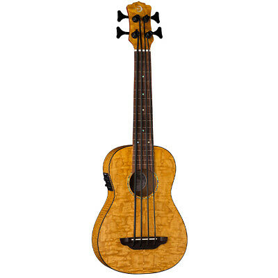 Luna Guitars Uke Bari-Bass Acoustic-Electric Ukulele w/ GigBag Quilt Top , New! ()