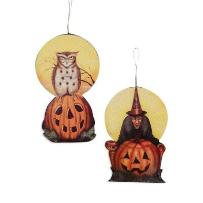 Bethany Lowe Halloween Retro Vintage Style Owl Witch Ornaments 4.5 inch Set of 2