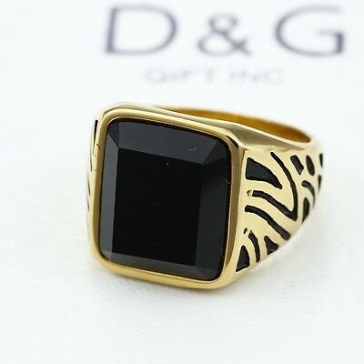 DG Men's Gold Stainless Steel Black Onyx Ring Size 8 9 10 11,12,13 New Box - Gold Onyx Jewelry Box