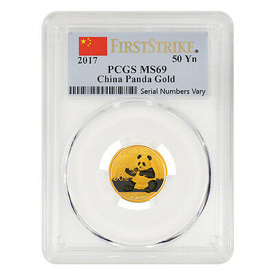 2017 3 Gram Chinese Gold Panda 50 Yuan Pcgs Ms 69 First Strike