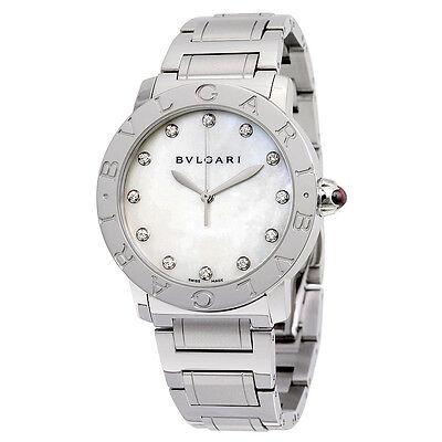 Bvlgari BVLGARI White Mother of Pearl Diamond Dial Stainless Steel 37mm Ladies
