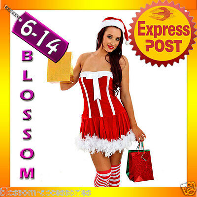 F25 Santa Claus Christmas Helper Fancy Dress Costume Xmas Party Outfit & Hat ()