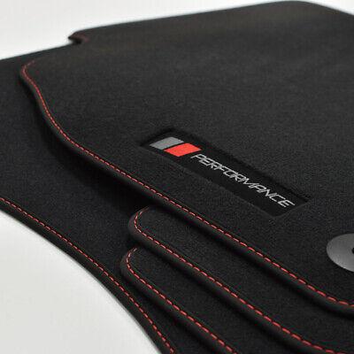Passend für Audi A5 S5 Coupe Kofferraumteppich Velours schwarz und Rand rot