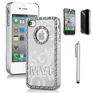 Deluxe Bling Aluminum Metal Chrome Hard Case Cover for iPhone 4G 4S 4 w/ Stylus