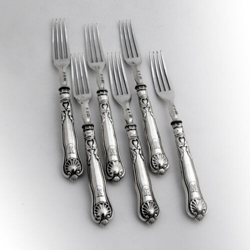 English Shell Dinner Forks Set Atkin Oxley Sterling Silver 1835 Crest