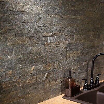 (Peel And Stick Tile Self Adhesive Stone Wall Bathroom Kitchen Backsplash Bronze)