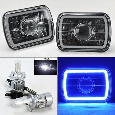 "7X6"" Blk/Chm Projector Glass CCFL Blue Halo Headlights & 6K 36W LED H4 Bulb Jeep"