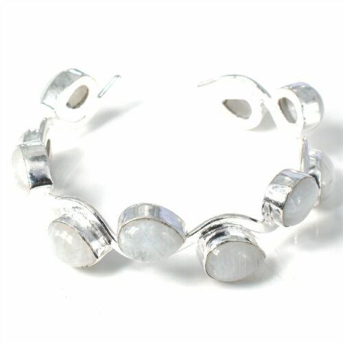 Moonstone  Gemstone Handmade 925 Sterling Silver Jewelry Bangle Size 7-8