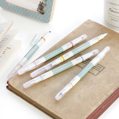 iConic- 2 Way Retro Pen - Set of 5 Color Pens -Fine/Thick Dual Nibs Highlighter