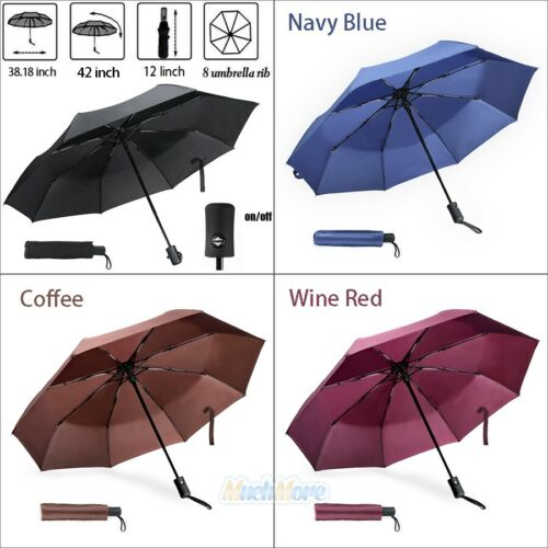 "42"" Large Automatic Umbrella Men/Women 3 Folding Anti-UV Win"