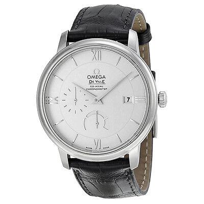 Omega De Ville Prestige Silver Dial Black Leather Mens Watch 424.13.40.21.02.001
