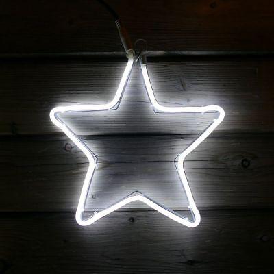 Weihnachtsstern beleuchtet 30x30cm Neon-Stern für Fenster außen 120 LED kaltweiß ()