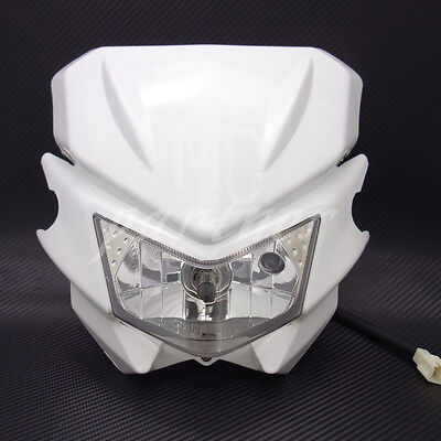 White H4 Front Headlight Dual Sport Dirtbike Off Road Motocross Street -