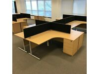 8 - CORNER DESKS - 1600 X 1200 X 800 X 600 MM - PEDESTALS ARE AVAILABLE - VG COND