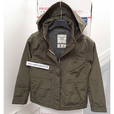 ABERCROMBIE & FITCH WOMENS HOODED TECHNICAL WATER RESISTANT JACKET COAT SIZE M