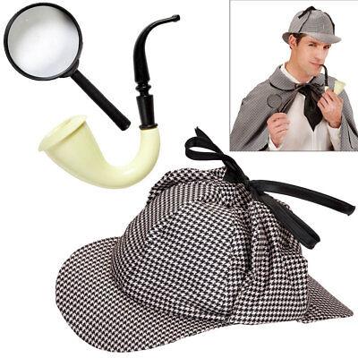 DETEKTIV SET Mütze Pfeife Lupe Englischer London Ermittler Kostüm Zubehör - Detektiv Kostüm