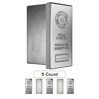 Lot of 5 - 100 oz Royal Canadian Mint (RCM) .9999 Fine Silver Bar