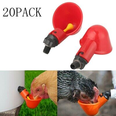 20 Pack Poultry Water Drinking Cups Chicken Bird Pigeon Fowl Auto Drink Plastic