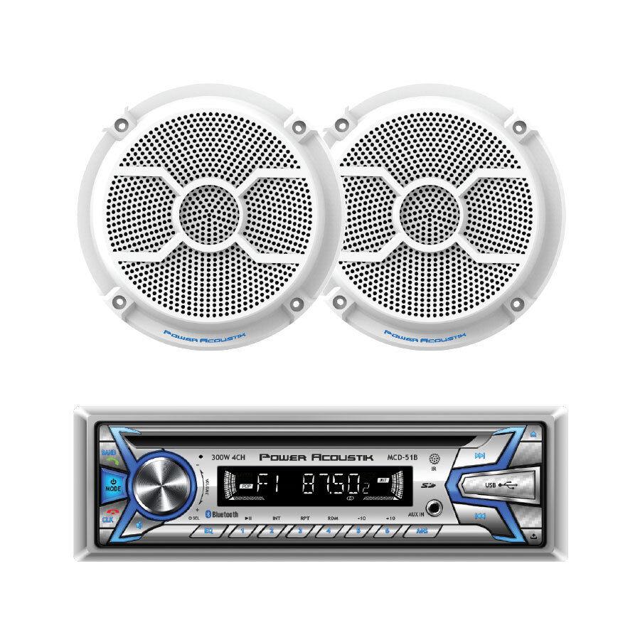 "Power Acoustik MCD1-265 Marine CD/MP3 Player Bluetooth USB AUX + 6.5"" Speakers"