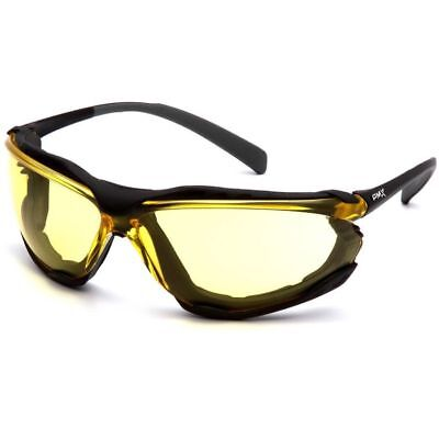 Pyramex Proximity Safety Glasses Foam Padded Black Frame Amber Anti-fog Lens