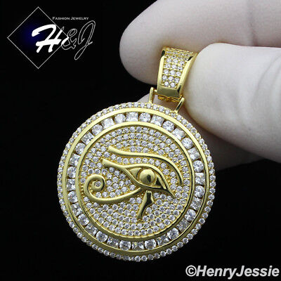 MEN 925 STERLING SILVER LAB DIAMOND ICED EYE OF HORUS GOLD ROUND (Sterling Silver Lab)