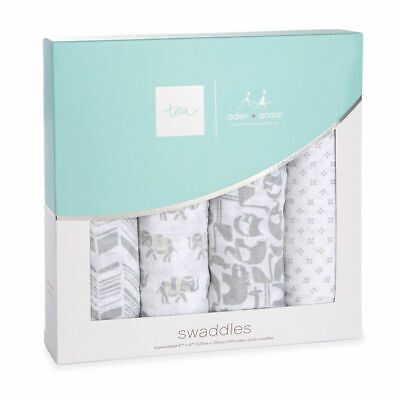 Aden and Anais Tea Collection Savanna Animals Swaddle Blankets 4 Pack NIB