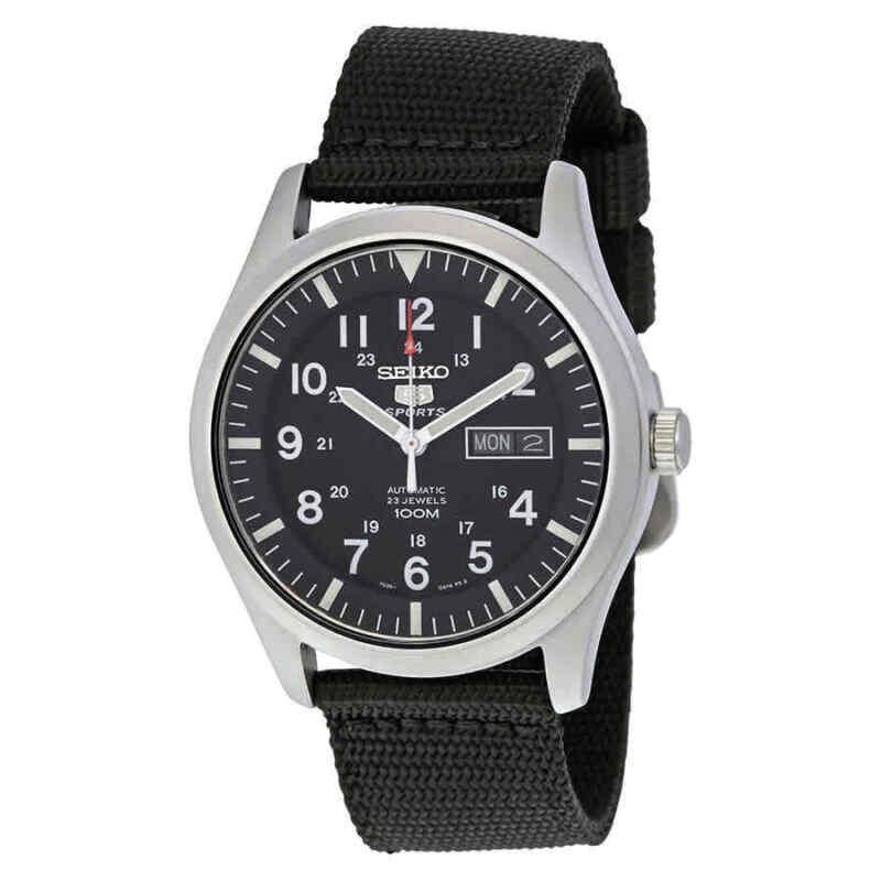 Seiko-5-Sport-Automatic-Black-Canvas-Men-Watch-SNZG15