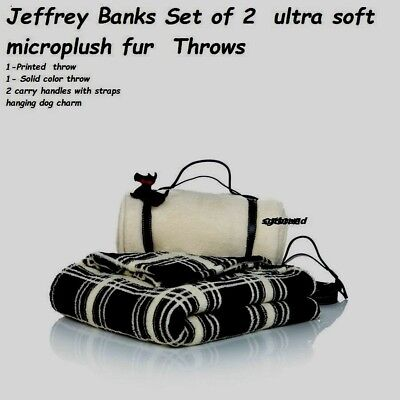 Set 2  - micro plush fleece Fur Throws Blanket w/ Scottie dog charm