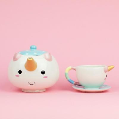 - SMOKO Elodie Unicorn Tea Set w/Teapot, Cup & Saucer, Decorative Kawaii Drinkware