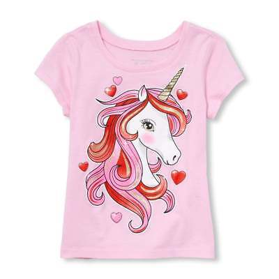 NWT The Childrens Place Valentines Day Unicorn Girls Pink Short Sleeve Shirt ](Valentines Day Kids)
