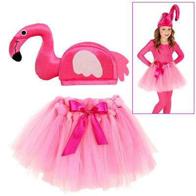 FLAMINGO KOSTÜM HUT KINDER Karneval Fasching Rock Tütü Mädchen Tier Party (Flamingo Kostüm)
