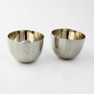Gorham Hammered Tumbler Cups Pair Sterling Silver Mono