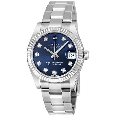 Rolex Lady Datejust Blue Diamond Dial Steel and 18K White Gold Oyster Watch