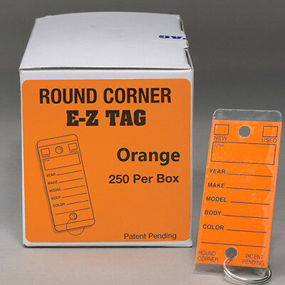 Car Dealer Key Tags Orange Tags Self Laminating Round Corner Ez407 250p