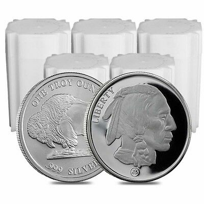 Lot of 100 - 5 Rolls Buffalo Design Republic Metals 1 oz. .999 Fine Silver Round