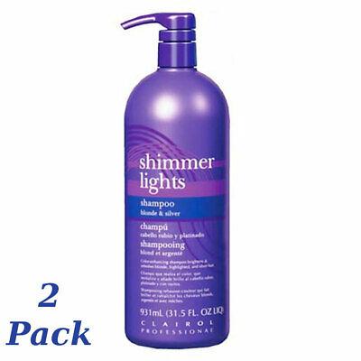 Clairol Silver Shampoo (CLAIROL (Blue) Shimmer Lights Shampoo 32 oz. (Blonde & Silver)(2 Pack))