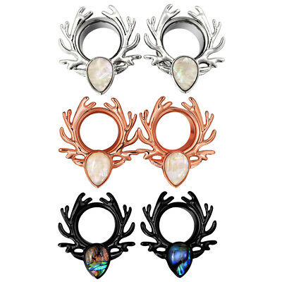 Pair Ear Gauges Plugs Stainless Steel Deer Abalone Single Flared Flesh Tunnels
