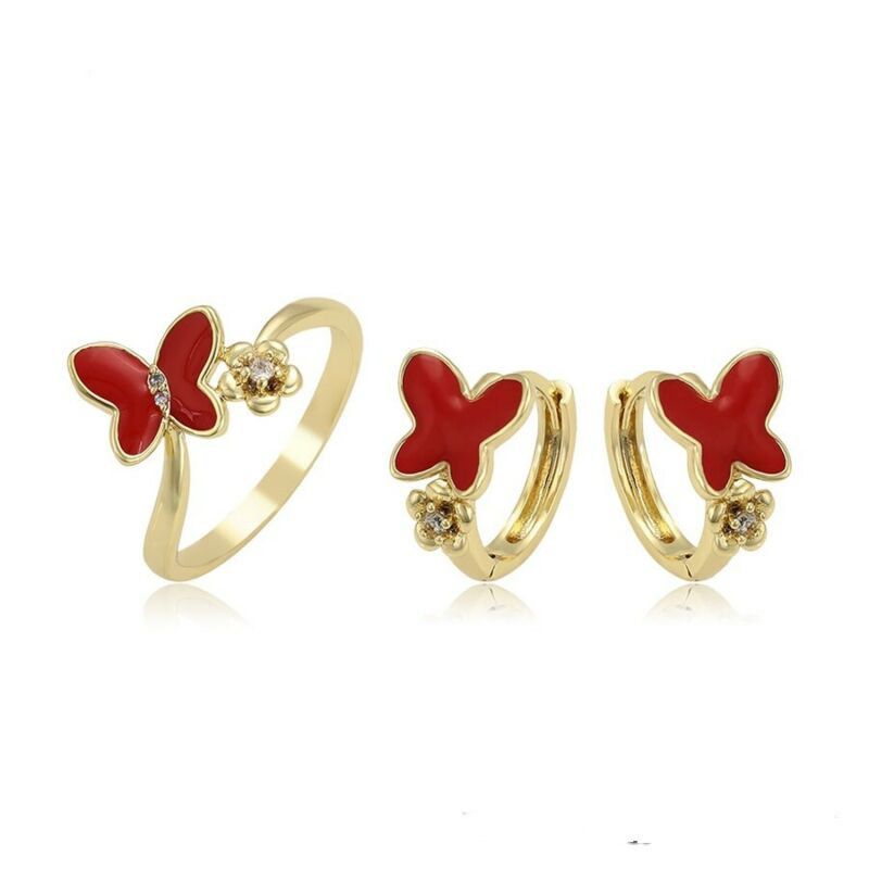 18k Gold Plated Red Butterfly Crystal Teen Women Hoop Huggie Earrings Set Ring