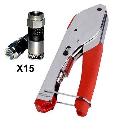 Universal Coax Compression F Connector Tool   15 Pcs Universal Rg6 Connectors