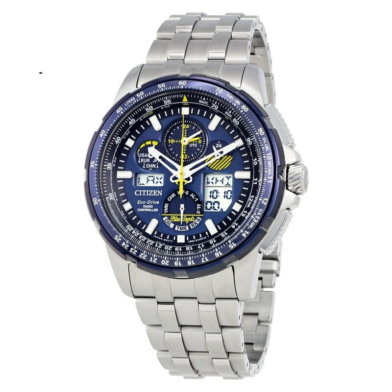 New Citizen Skyhawk Blue Angels A-T Chronograph Perpetual Men's Watch JY8058-50L