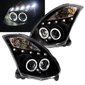 Skyline V35 2003-2007 Coupe LED Angel-Eye Projector HEADLIGHT Black for NISSAN