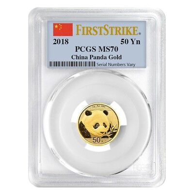 2018 3 Gram Chinese Gold Panda 50 Yuan PCGS MS 70 First Strike