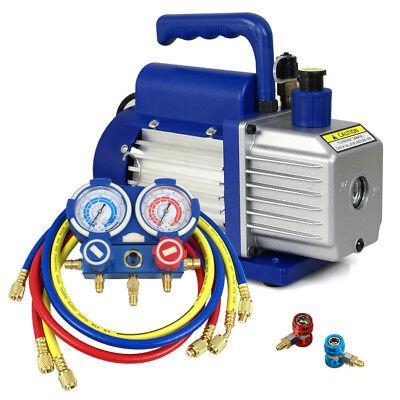 Manifold Gauge R134a R12 R22 R502 Ac Hvac Case 2 Valve  35cfm Vacuum Pump Se