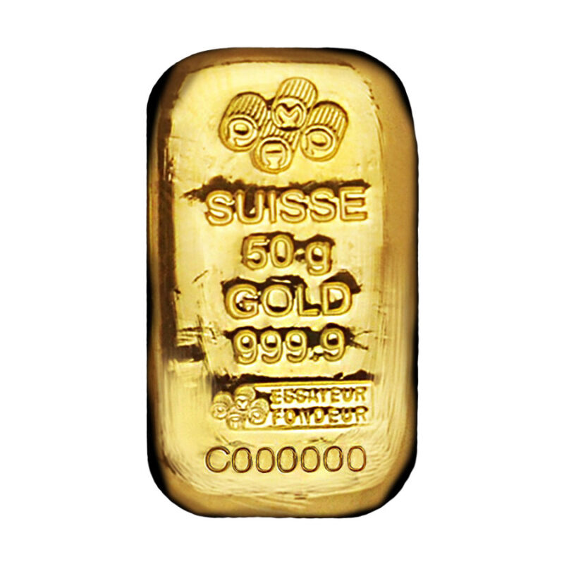 50 Gram Gold Bar Pamp Suisse .9999 Fine (cast, W/assay)