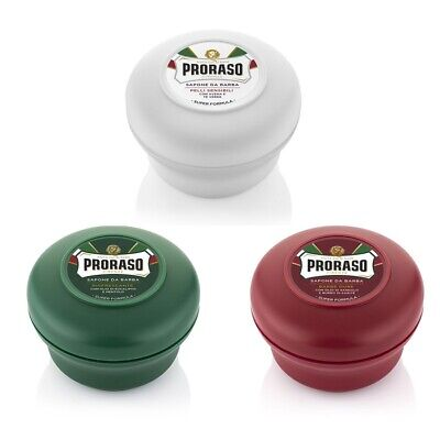 PRORASO Shaving Soap TRIPLE PACK   Red, White and Green Bowl  150ml Jar